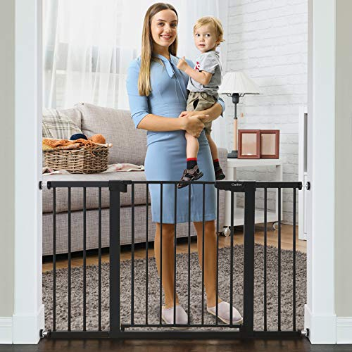 Cumbor 51.6' Baby Gates Extra Wide for Stairs and Doorways, Durable Safety Dog Gate for The House, Easy Walk Thru Auto Close Baby Child Gates, Includes 2.75', 5.5' and 11' Extension, Mounting, Black