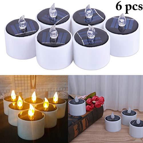 FunPa LED Kerzen, 6 Stück Solar Kerzen Außen Interior Solar Teelichter Wasserdicht Flammenlose Kerzen Solarleuchte Teelichter Nachtlicht für Partei Hochzeit Festival Dekoration (Warmweiß)