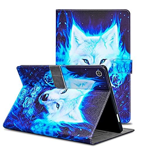 Auslbin Funda para Galaxy Tab A6 10.1 Pulgadas SM-T580/T585 Cuero PU Carcasa Protección de Cartera con Función de Auto-Sueño/Estela de Caso para Tableta Samsung Galaxy Tab A 2016,Lobo Azul