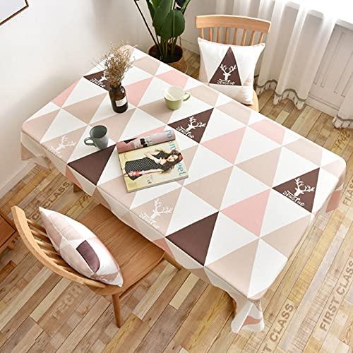 sans_marque Paño de mesa, algodón y lino lavable, tela de mesa de costura de borla, cubierta de mesa de comedor, adecuado para decoración de mesa de cocina y mesa de comedor135x160cm