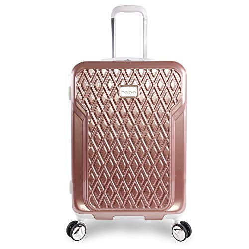BEBE Women's Stella 21' Hardside Carry-on Spinner Luggage, Rose Gold, One Size