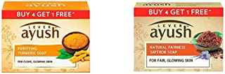 Lever Ayush Purifying Turmeric Soap, 100 g each (Buy 4 Get 1) & Lever Ayush Natural Fairness Saffron Soap, 100 g each (Buy 4 Get 1)
