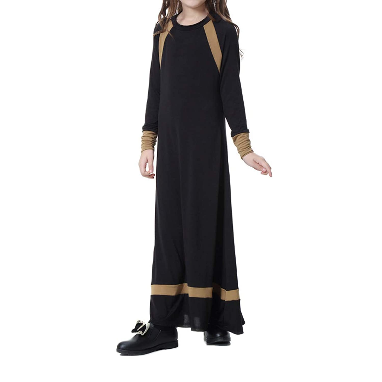 Fuyingda イスラム教徒 ドレス 女の子 余暇 ステッチングカラー マキシ ドレス ロングスリーブ