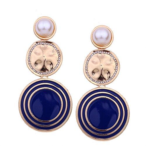 Aymsm Pendientes de Perlas de imitación de Mujer atmosférica, Textura de Hilo geométrico, Pendientes Largos Redondos Grandes, te Hacen más Sexy Azul