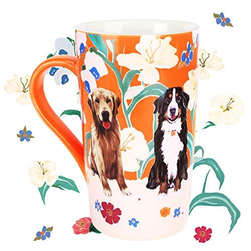 NymphFable 18oz Keramik Kaffeetasse Trinkbecher Hund Blumen Kaffeetassen Mit Griff Personalisierte Groß Beste Freundin