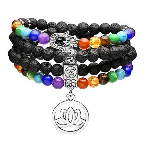 Top Plaza 108 Mala Prayer Beads Natural Lava Rock Stone Essential Oil Diffuser Bracelet Necklace 7 Chakra Healing Crystals Yoga Meditation Stretch Bracelets