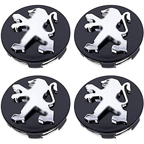 XCBW Cubierta del Eje del Coche 4pcs 60mm Emblema del Logotipo de Las Tapas del Cubo del Centro de la Rueda para P-eugeot 307408207205206407107308 4008507508 5008301,Negro