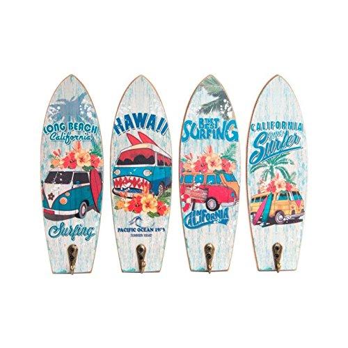 Material: MADERA Medida: 22x7 cm / cada pieza Set 4 perchero surf 4/ modelo .