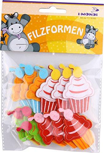 i-mondi® Formas de fieltro precortadas figura Cupcake manualidades 12 piezas tamaño 40 x 60 mm autoadhesivos