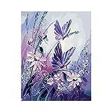 Pintura para lienzo de bricolaje por números para adultos y niños, mariposa de cristal (40,6 x 50,8 cm) para dormitorio, oficina, manualidades para el hogar sin marco