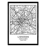 Lámina mapa de la ciudad London estilo nordico en blanco y negro. Poster tamaño A3 Enmarcado con marco negro Impreso papel 250 gr. Cuadros, láminas y posters para salon y dormitorio