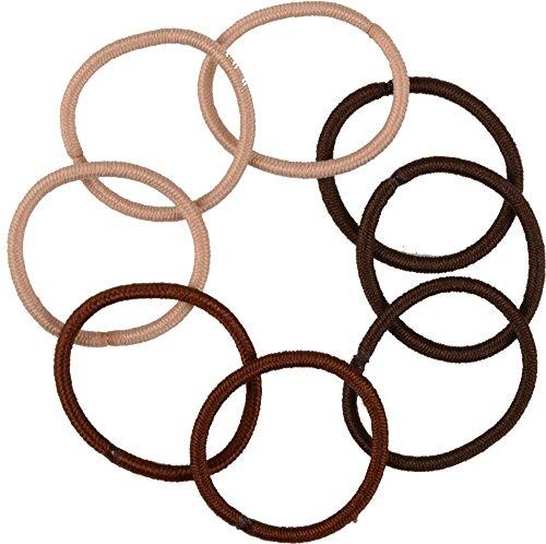 Solida Haargummi metallfrei klein, 4er Pack (4 x 9 Stück), brauntöne