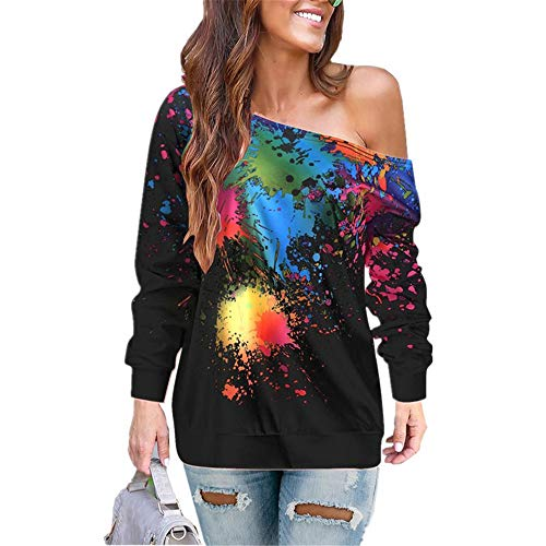 JIER Weg von der Schulter Pullover Damen Langarm Graffiti Off Shoulder Schrägstrich Schulter Graffiti Sweatshirt Bluse Longshirt Tunika (schwarz,Small)