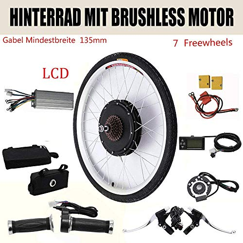 Kit de conversión para rueda trasera de bicicleta eléctrica de 26 pulgadas, 36 V, 250 W, con pantalla LCD