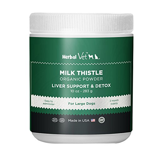 Certified Organic Milk Thistle Powder for Cats and Dogs - Easy to Mix with Wet or Dry Food- Promotes Healthy Liver Function and Detox for Pets (10 OZ for Large Dogs)