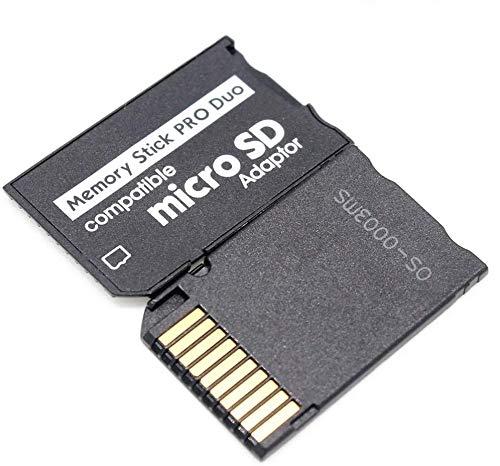 Speicherkarten-Adapter, MicroSD MicroSDHC auf MS Pro Duo Adapter für Sony PSP Kamera und andere, unterstützt max. 64 GB Micro-SD-Karte (schwarz)
