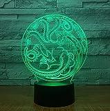 Juego de Trono Souvenir Dragon Totem 3D LED Lámpara de Noche de Acrílico con 7 Colores Táctil Control
