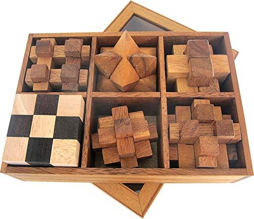 LOGOPLAY 6 Knobelspiele im Set - Spielesammlung 3D Puzzle - Denkspiele - Knobelspiele - Geduldspiele - Logikspiele in edler Geschenkbox aus Holz mit transparentem Deckel