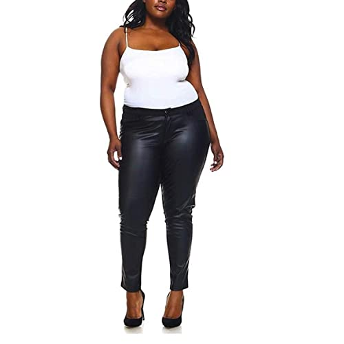 ede84fd1672 1826 Faux Leather Black Stretch Women s PLUS SIZE SKINNY Ponte PU PANTS  Clubwear
