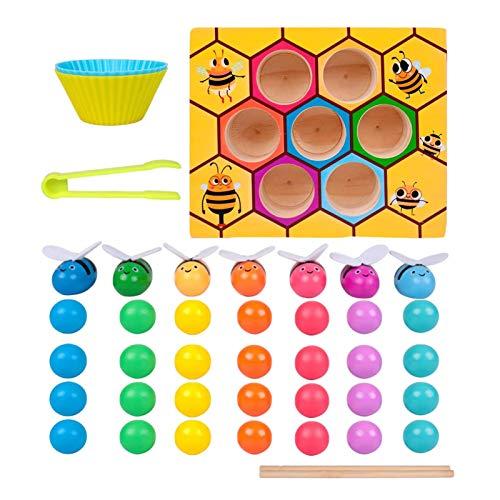 Juguetes educativos de madera 5 en 1, juegos de mesa a juego que traen abejas y cuentas a la colmena, juguetes de aprendizaje preescolar, regalos para niños mayores de 3 años