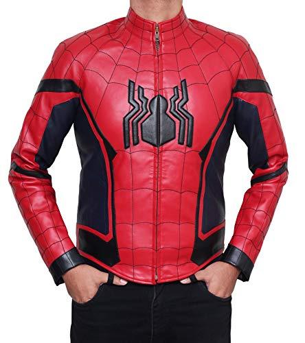 DeColure Superhero - Chaqueta de piel sintética unisex para disfraz de Halloween Spider - Red M