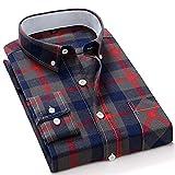 Camisas Hombres,Camisa A Cuadros De Manga Larga Camisas Casuales De Algodón Azul Rojo Clásico A Cuadros con Bolsillo Botones Padre Novio, L