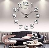 Asvert Reloj de Pared 3D Silencioso DIY de Material Acrílico con Números Adhesivos (Efecto de Espejo) y Agujas EVA para Decoración de Hogar (Número de Plata)