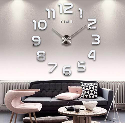 Asvert Reloj de Pared 3D Grande Silencioso DIY de Material Acrílico con Números Adhesivos (Efecto de Espejo) y Agujas EVA para Decoración de Hogar (Número de Plata)
