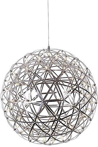 Risjc LED Globo Colgante Luz Ligero Acero Inoxidable Lámpara de araña Moderna Iluminación Geométrica Metal Lámpara para Colgar para Sala de Estar Dormitorio de Comedor Foyer