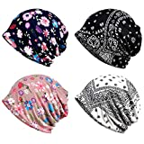 XYIYI Women's Baggy Soft Slouchy Beanie Hat Stretch Infinity Scarf Head Wrap Cap (4Pcs Multicolor1)
