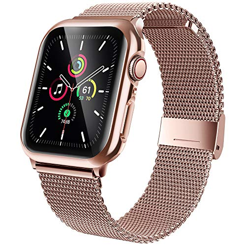 jwacct Stainless Steel Bands Compatible with Apple Watch Band 38mm, Screen Protector for iWatch Series 3/2/1, Adjustable Metal Magnetic Strap Sport Bracelet Loop Women/Men (Pink Gold)