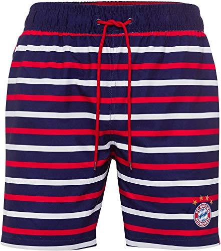 FC Bayern München Badeshorts, Badehose, Bathing Shorts, Swim Shorts gestreift Plus Aufkleber Forever München (M)