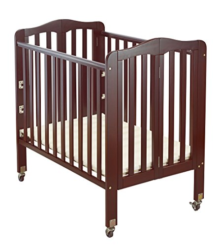 Big Oshi Angela Portable, Folding Baby Crib Frame on Wheels - Adjustable Mattress Height, Low to High - Modern, Unisex Wood Design for Boys or Girls - Sturdy, Lightweight, Side Crib, Cherry