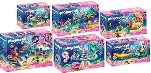PLAYMOBIL® Magic 6er Set 70095 70096 70097 70098 70099 70100 Nachtlicht + Beautysalon + Meereskönig + Schneckengondel + Perlensammler + Familie