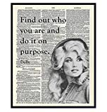 Dolly Parton Quote - Dictionary Wall Art Print - 8x10 Photo Picture - Unique Gift for Country Music, Dollywood Fans - Unframed Motivational Inspirational Home Decor, Room Decoration Poster