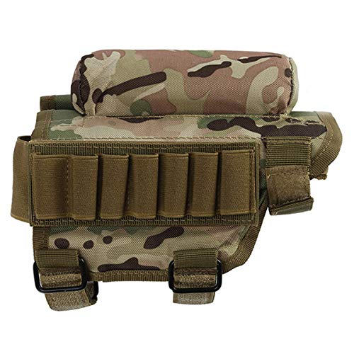 Rifle Buttstock Portable Adjustable Tactical Shell Holder Cheek Rest Pouch Holder Pack with 7 Shells Holder for Hunting Shooting, Rifle Cheek Riser (cp Camouflage)