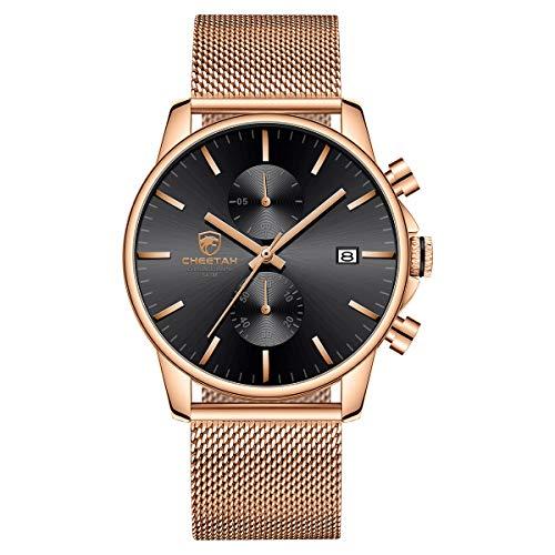 Reloj para hombre de moda elegante minimalista de cuarzo analógico de malla de acero inoxidable resistente al agua cronógrafo relojes, fecha automática en oro rosa, color negro