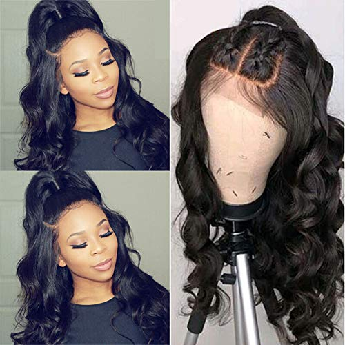 MDL Hair 28 inch 4x4 Lace Front Body Wave Human Hair Wigs Brazilian Virgin Hair 4x4 Lace Closure Wig 130% Density Pre Plucked Hairline Human Hair Lace Front Wigs With Baby Hair