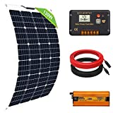 ECO-WORTHY Kit de panel solar flexible de 130W 260W 12V (130W Kit+inversor)