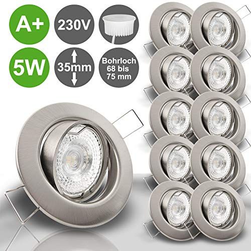LIMITIERTE AKTION Decken Einbaustrahler DECORA extra flach 35 mm 230V 10er Set inkl. LED 5,0W = 50W Warmweiss 400 Lumen schwenkbar EDELSTAHL OPTIK gebürstet Spot Leuchtmittel austauschbar