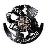 Lianaic Reloj de Pared I Love Rottweiler Wall Clock Reloj de Pared, Rottweiler, para decoración artística, para el hogar, Raza de Perros, Disco de Vinilo, Reloj de Pared, Regalo de Mascotas