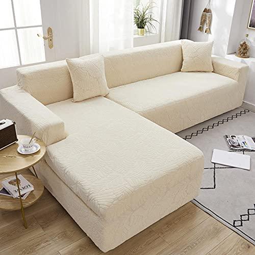 Funda Elástica de Sofá Beige 3 plazas y 4 plazas, Funda de sofá elástica de Color sólido Moderno, elástico Todo Incluido Fundas Protectoras de sofá de Asiento