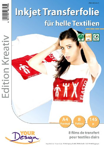 Your Design Transferpapier: 8 T-Shirt Transferfolien für weiße Textilien A4 Inkjet (Bügelfolien)
