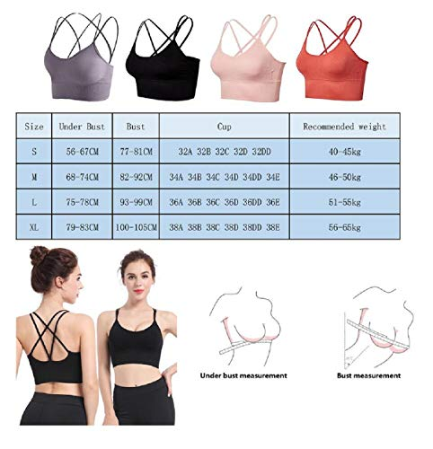 UMIPUBO Women Sports Bra Super Comfort Bra Removable Pads Plus Size Sleep Bras Leisure Stretch Crop Tops Vest 1/2 Pack Unique Cross Back Strappy for Gym Yoga Workout Running Exercise Black