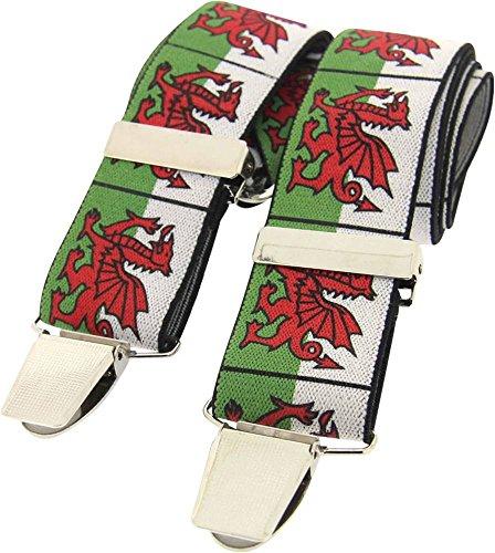 White / Green / Red Welsh Dragon bretelles de David Van Hagen