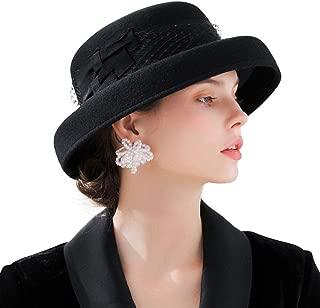 F FADVES Womens Wide Brim Bowler Cap Winter Wool Floppy Fedoras Wedding Derby Hat