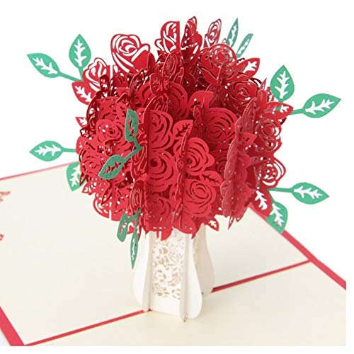 Bluelans Big Rose 3D Pop UP Greeting Cards Fantastic Flower Handmade Gift Card For Valentine's Day Birthday Anniversary Invitation Wedding Love Gifts (Red Rose)
