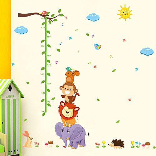 ElecMotive Abnehmbare Messlatte Körpergröße Messen Wandsticker für Kinderzimmer in Geschenkkarton verpackt (Tiere 2)