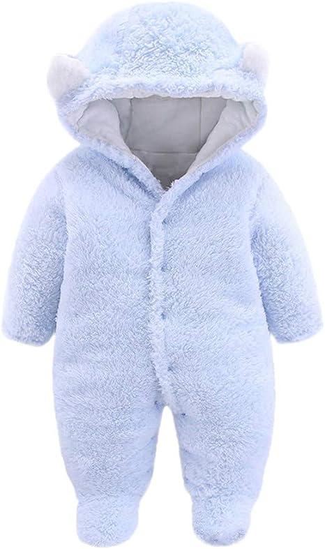 RTB Unisex Baby Cloth Winter Coats Cute Newborn Infant Jumpsuit Snowsuit Bear Outfits Fleece Hooded Warm Clothes