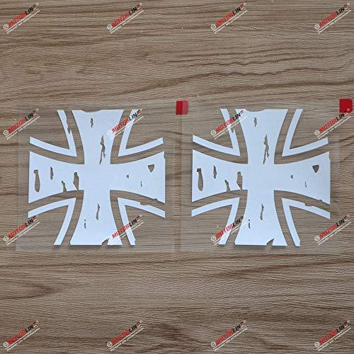 2 x weißes Eisernes Kreuz Bundeswehr Abzeichen Aufkleber Bundeswehr Auto Vinyl Distressed
